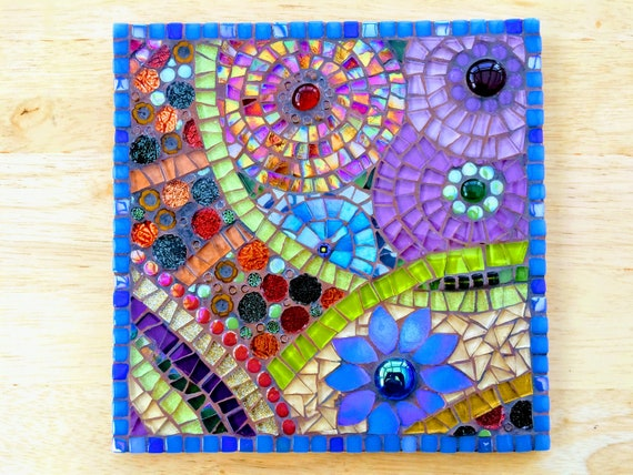 Handmade glass abstract flower mosaic picture Mosaic wall art Unique gift idea Home decor  'Flower Anatomy in Blue'