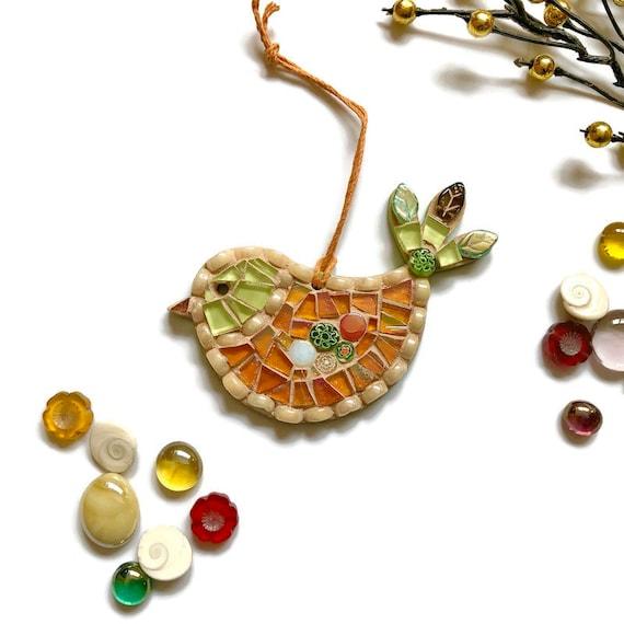 Mosaic Bird Ornament; Bird wall art; Handmade green and gold bird ; Unique gift idea; Home decor