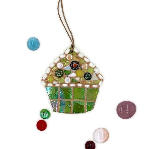 Handmade glass green mosaic hanging cupcake ornament Unique gift idea Kitchen decor