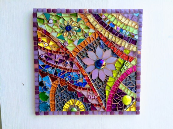 Handmade glass abstract flower mosaic picture Mosaic wall art Unique gift idea Home decor  'Flower Anatomy in Purple'