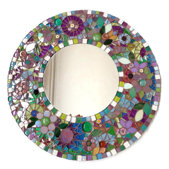 Handmade glass mosaic round 'Flowers by the Lake'mirror Wall art mirror Home decor Unique gift idea