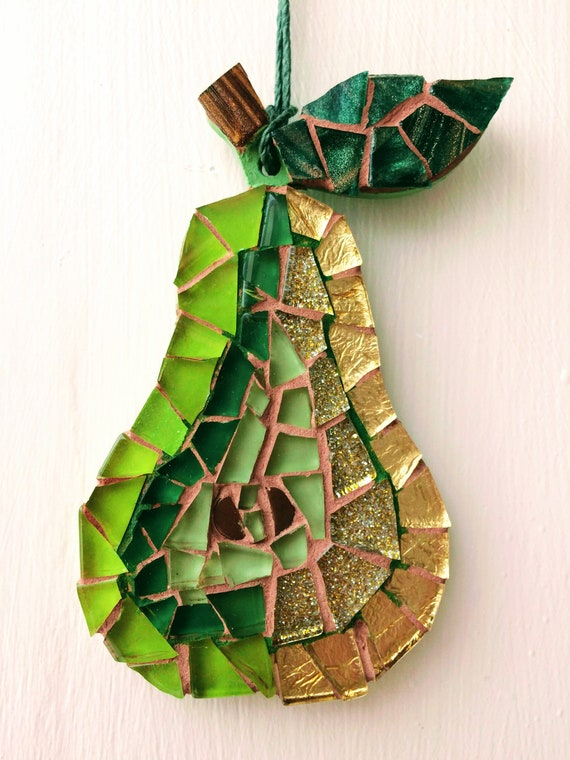 Handmade glass mosaic hanging green gold pear Unique gift idea Kitchen decor Gift for her Gift for him Wall art Wall decor
