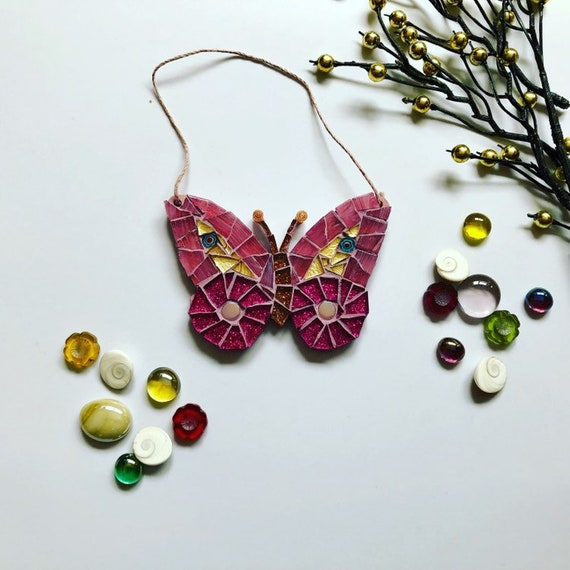 Handmade glass pink hanging butterfly mosaic  Butterfly ornament Unique gift idea Home decor