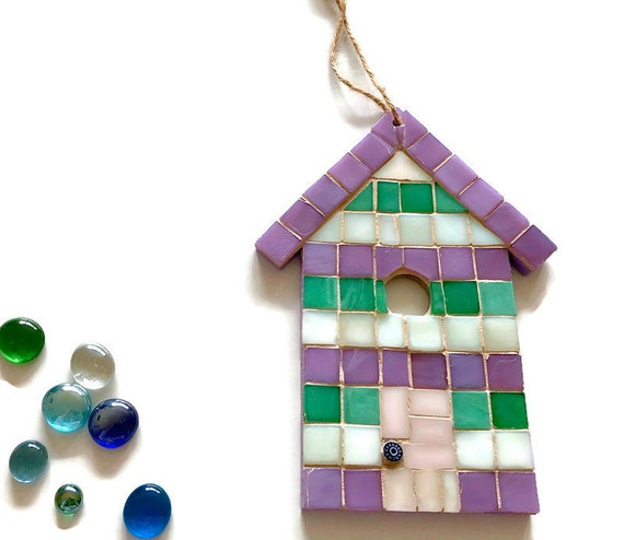 Handmade glass mosaic hanging green white and purple beach hut ornament Unique gift idea Home decor Seaside art Wall art Wall decor