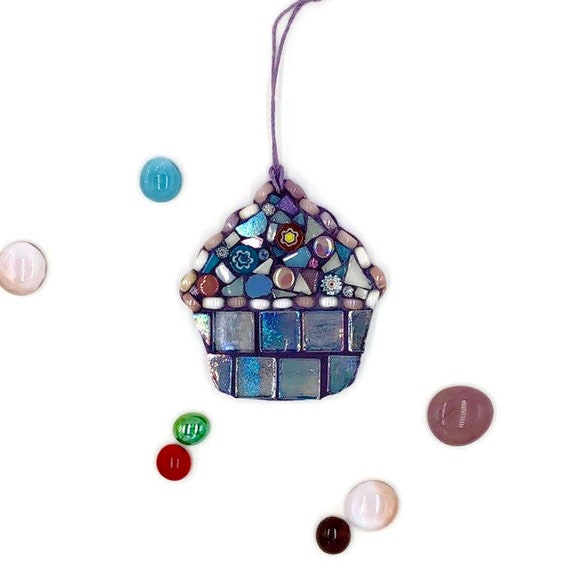 Handmade glass blue mosaic hanging cupcake ornament Unique gift idea Kitchen decor
