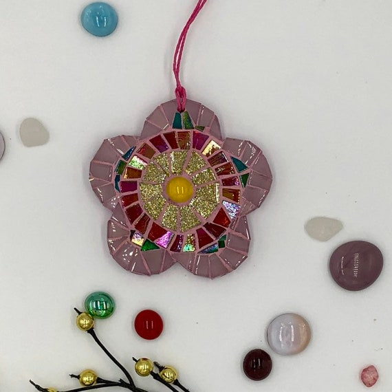 Handmade glass pink mosaic hanging flower ornament Unique gift idea Home decor Gift for her Wall art