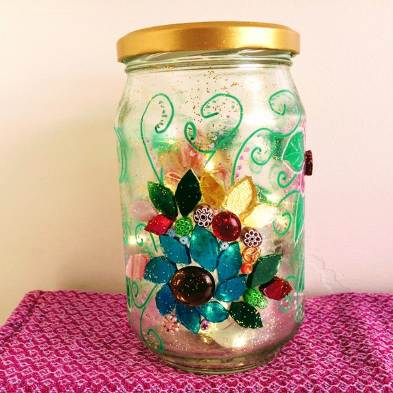 Sparkly jar light Mosaic flowers Painted flowers jar  Upcycled glass ornament  'Fireflies and Moonbeams' lights  Unique gift idea Home decor