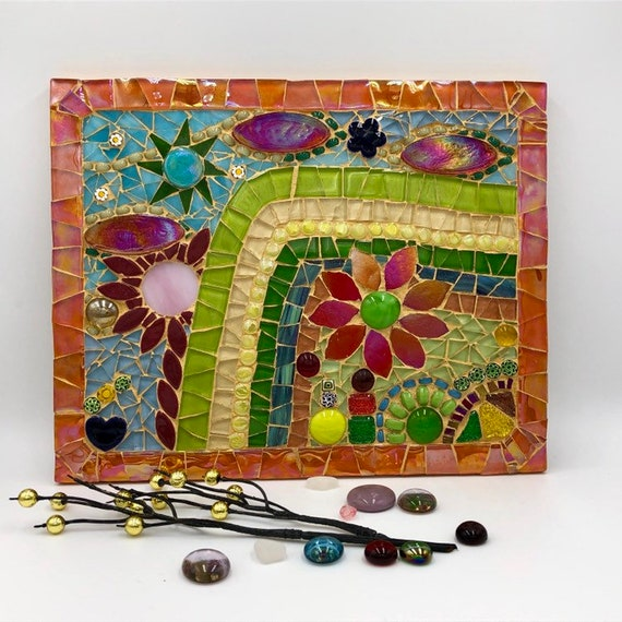 Handmade glass abstract flowers and garden mosaic picture Mosaic wall art Unique gift idea Home decor  'Midday Green'