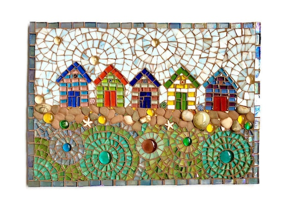 Beach Huts at Wells-Next-The Sea Handmade glass mosaic beach hut picture Unique gift idea Home decor   Seaside art Wall art Wall decor