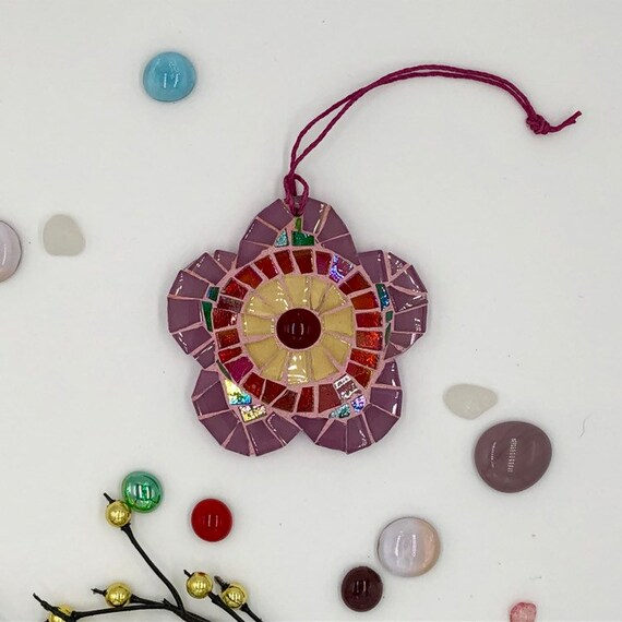 Handmade glass pink mosaic hanging flower ornament Unique gift idea Home decor Gift for her Christmas gift Wall art Christmas tree ornament