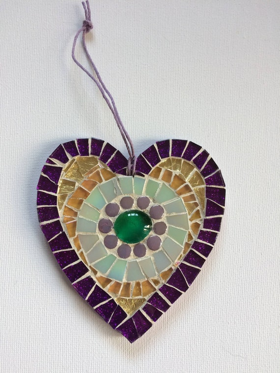 Handmade glass mosaic hanging purple gold green heart ornament Unique gift idea Home decor Gift for her Heart gift Wall art Wall decor