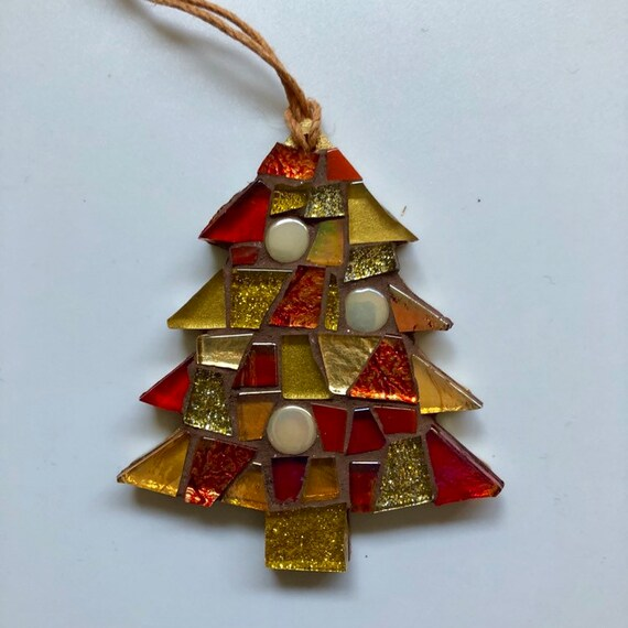 Handmade glass mosaic Christmas tree  Christmas tree ornament Christmas decoration Red Gold Unique gift idea Home Christmas gift