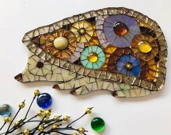 Mosaic Hedgehog Ornament; Woodland wall art; Woodland creatures; Handmade hedgehog; Unique gift idea; Home decor