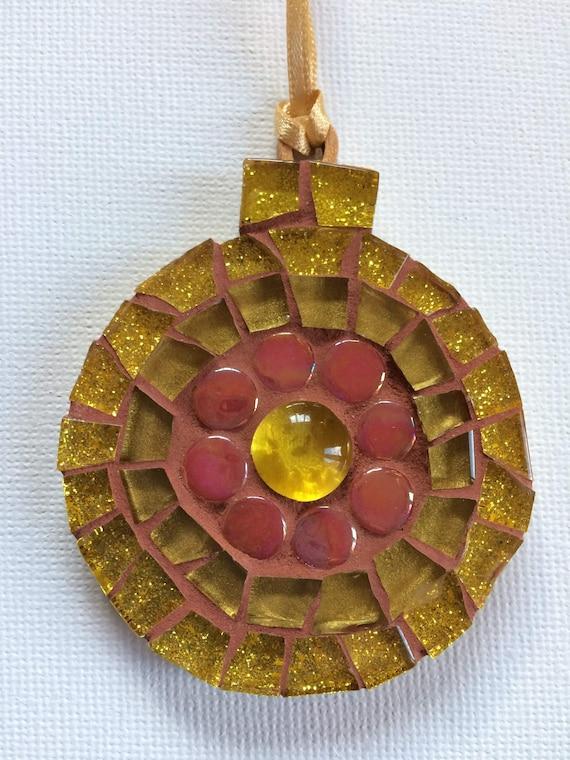 Handmade glass mosaic Christmas Bauble  Christmas tree ornament Christmas decoration Gold red Unique gift idea Home decor