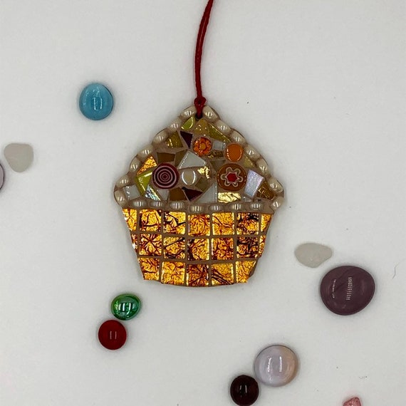 Handmade glass orange mosaic hanging cupcake ornament Unique gift idea Kitchen decor Christmas gift
