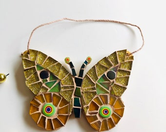 Mosaic Butterfly Ornament; Butterfly wall art; Handmade gold butterfly ; Unique gift idea; Home decor; Glass butterfly