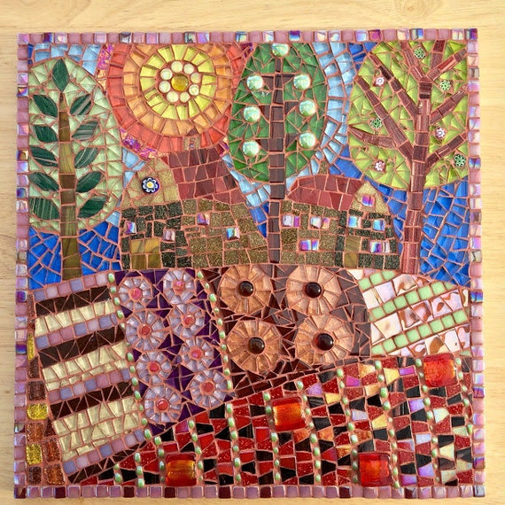 Handmade glass abstract tree and fields mosaic folk art picture Unique gift idea Home decor 'Barn & Fields' Mosaic wall art