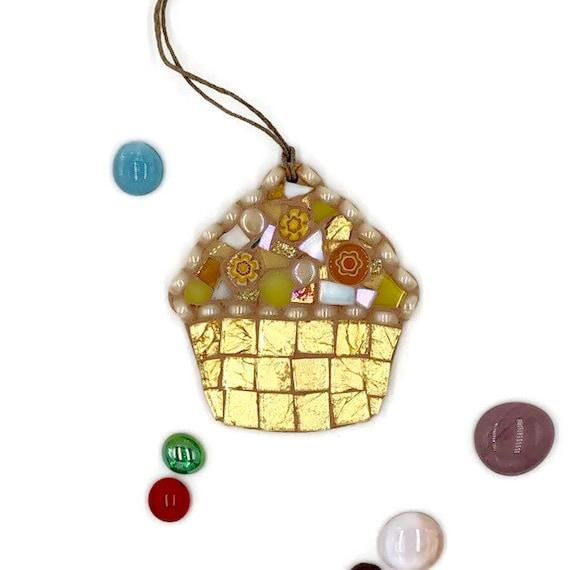 Handmade glass gold mosaic hanging cupcake ornament Unique gift idea Kitchen decor