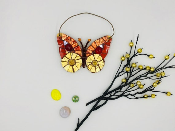 Handmade glass orange and gold hanging butterfly mosaic  Butterfly ornament Unique gift idea Home decor Gift for her Mothers' Day