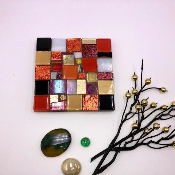 Handmade glass orange gold and black 'patchwork' mosaic square coaster Unique gift idea Living room decor Home Christmas gift