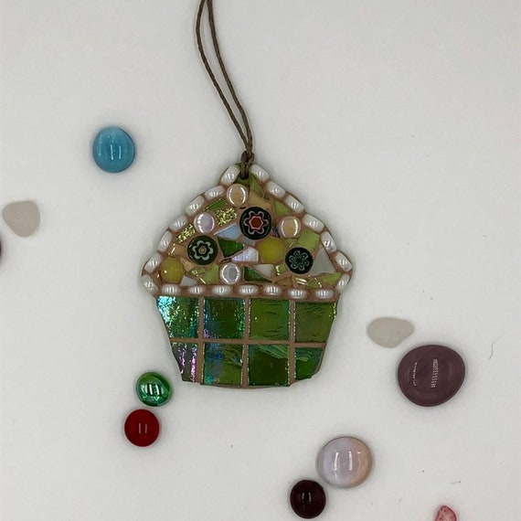 Handmade glass green mosaic hanging cupcake ornament Unique gift idea Kitchen decor Christmas gift