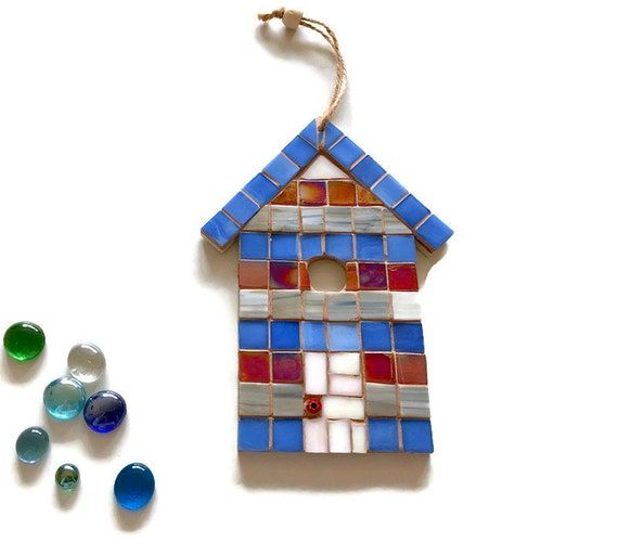 Handmade glass mosaic hanging red white and blue beach hut ornament Unique gift idea Home decor Seaside art Wall art Wall decor