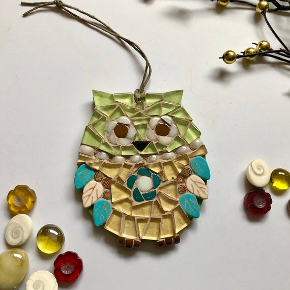 Handmade glass mosaic green and gold hanging owl ornament Unique gift idea Home decor Mosaic wall art Christmas ornament
