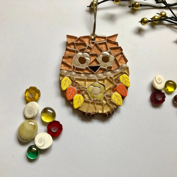 Handmade glass mosaic copper and gold hanging owl ornament Unique gift idea Home decor Mosaic wall art Christmas ornament