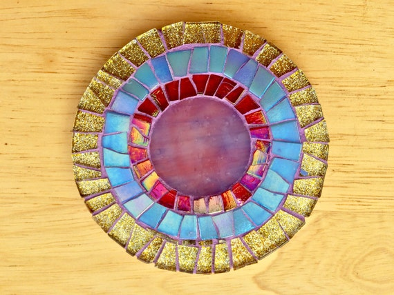 Handmade glass round gold and blue mosaic coaster Unique gift idea Living room decor Christmas gift