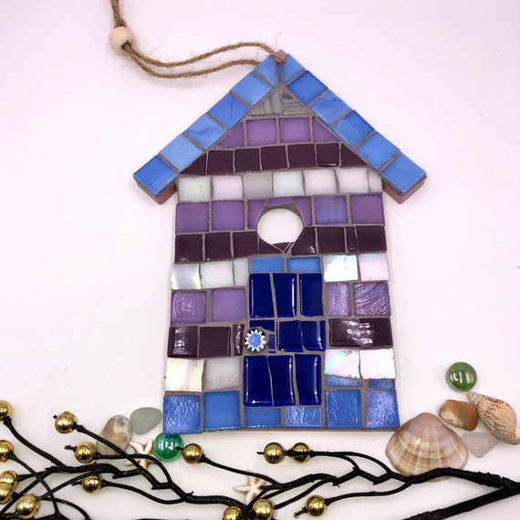 Handmade glass mosaic hanging purple and blue beach hut ornament Unique gift idea Home decor Gift for her Seaside art Wall art Wall decor
