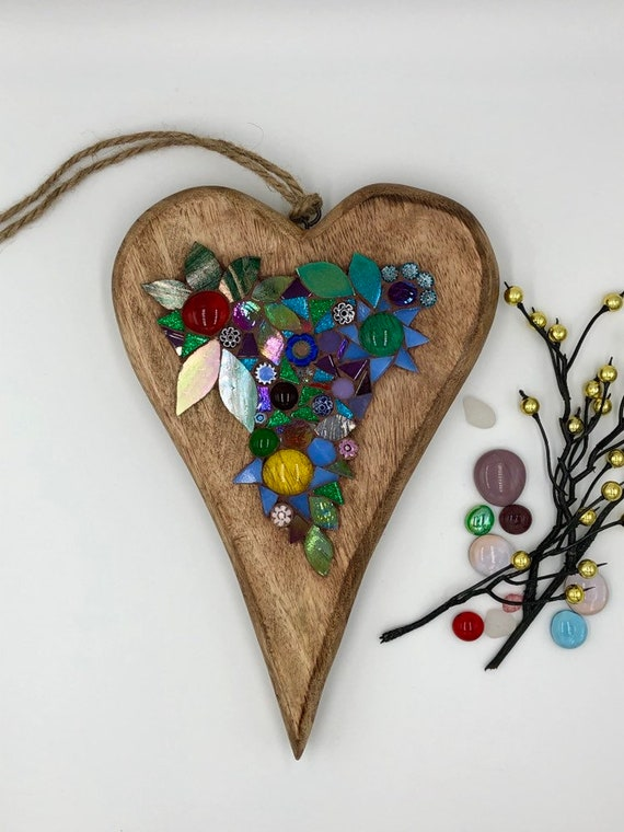 Glass mosaic on wooden heart Flower gift Hanging ornament Unique gift idea Home decor Gift for her Heart gift Wall art Wall decor