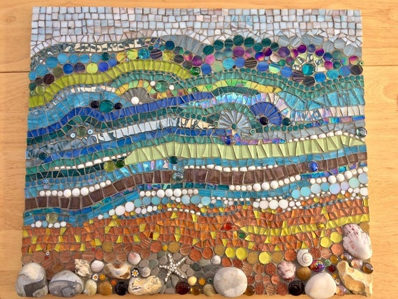 Handmade glass and pebble mosaic picture Unique gift idea Home decor 'Seascape II' Mosaic wall art