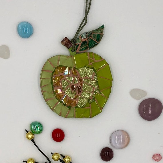 Handmade glass mosaic hanging  green gold apple Unique gift idea Kitchen decor Gift for her Gift for him Wall art Wall Decor