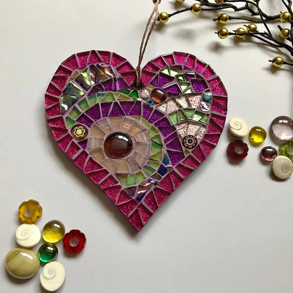 Handmade glass mosaic hanging heart ornament purple pink green Unique gift idea Home decor Heart gift Wall art Wall decor Christmas gift