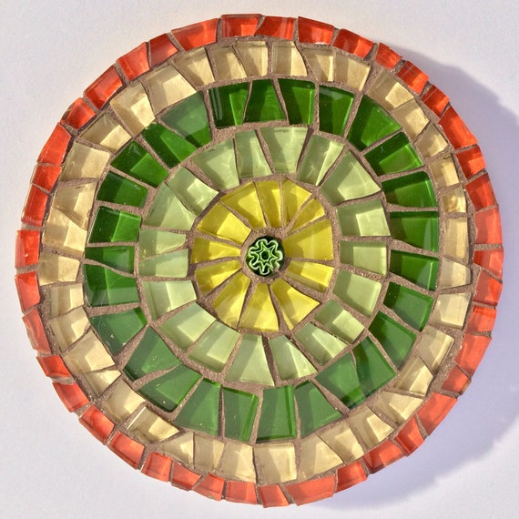 Handmade glass round orange and green mosaic coaster Unique gift idea Living room decor Gift for her