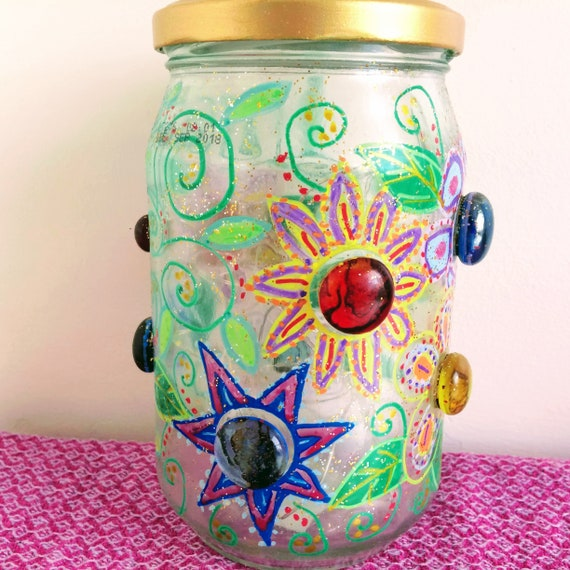Sparkly jar light Glass flowers Painted flowers jar  Upcycled glass ornament  'Fireflies and Moonbeams' lights  Unique gift idea Home decor