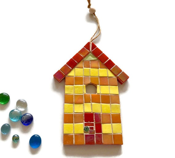 Handmade glass mosaic hanging red orange and yellow beach hut ornament Unique gift idea Home decor Seaside art Wall art Wall decor
