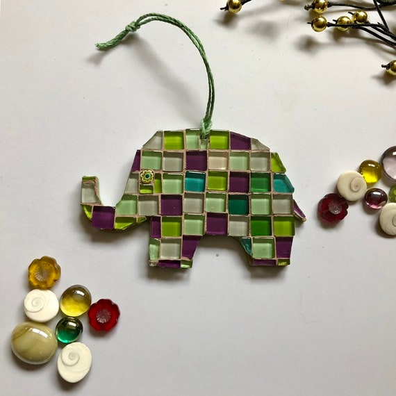 Handmade glass mosaic hanging patchwork elephant ornament Unique gift idea Elephant wall art Home decor Christmas gift Decoration