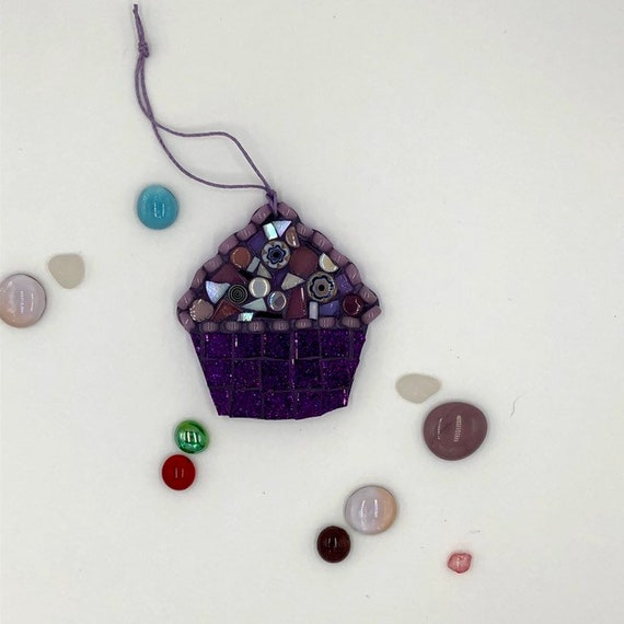 Handmade glass purple mosaic hanging cupcake ornament Unique gift idea Kitchen decor Christmas gift