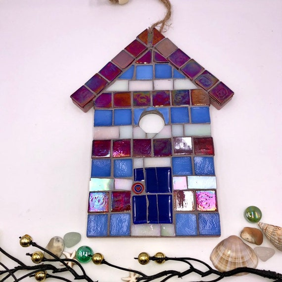 Handmade glass mosaic hanging red white blue beach hut ornament Unique gift idea Home decor Gift for her Seaside art Wall art Wall decor