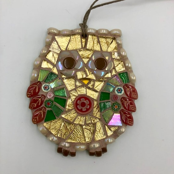 Handmade glass mosaic gold, red and green hanging owl ornament Unique gift idea Home decor Gift for her