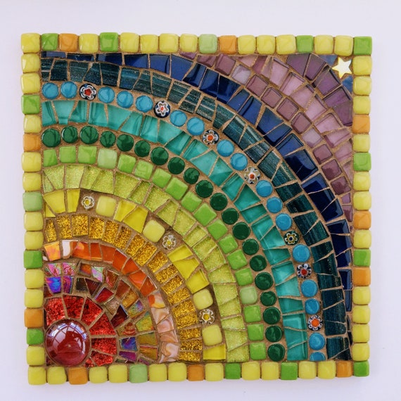 Handmade glass rainbow mosaic picture Unique gift idea Mother's Day gift  Home decor 'Rainbow with Caramel Glitter', Mosaic wall art
