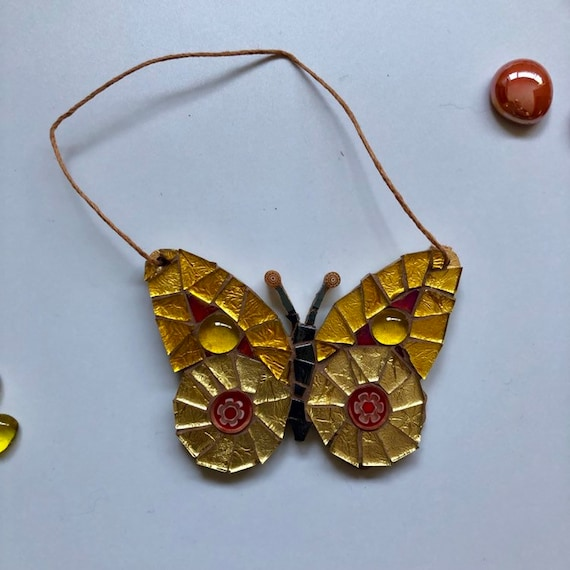 Handmade glass red and gold hanging butterfly mosaic  Butterfly ornament Unique gift idea Home decor Gift for her Mothers' Day
