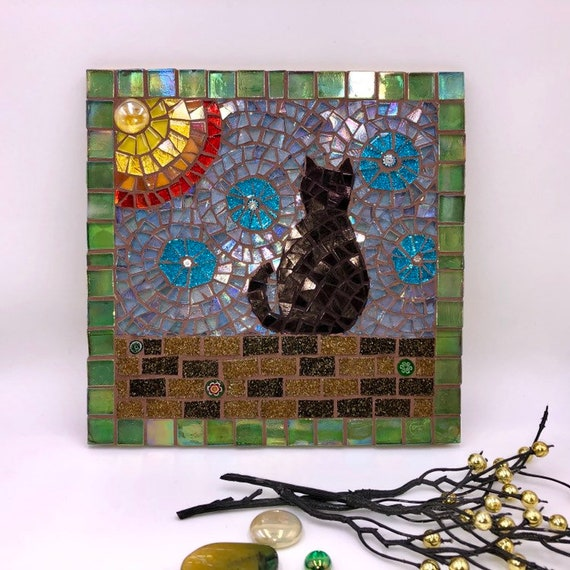 Handmade glass abstract black cat mosaic picture Mosaic wall art Unique gift idea Home decor 'Cat and the Sun'