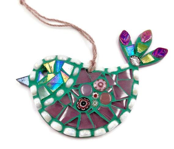 Handmade glass mosaic green and purple hanging bird ornament Unique gift idea Bird wall art Home decor