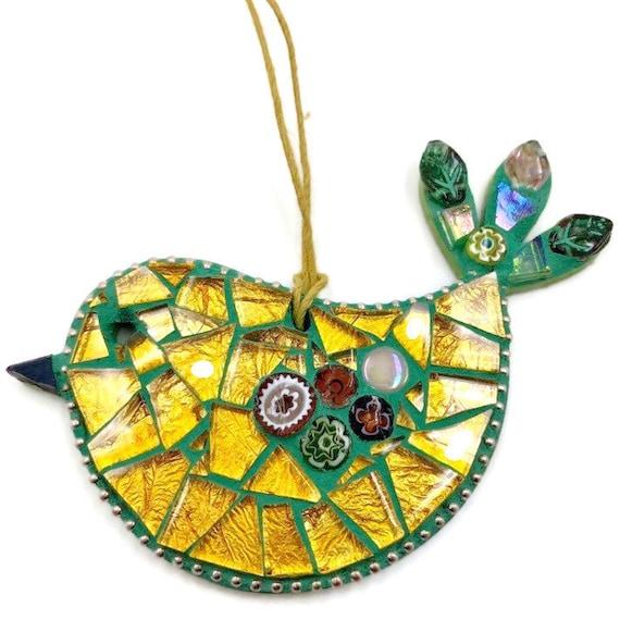 Handmade glass mosaic green and gold hanging bird ornament Unique gift idea Bird wall art Home decor