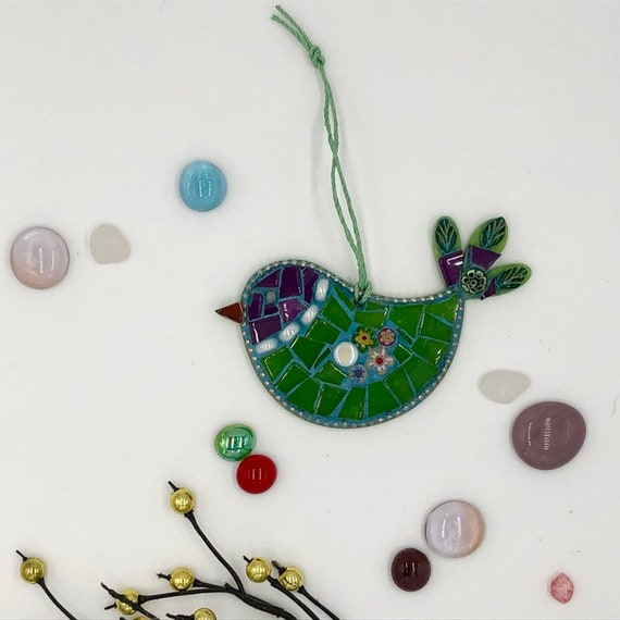 Handmade glass mosaic green and purple hanging bird ornament Unique gift idea Bird wall art Home decor Gift for her