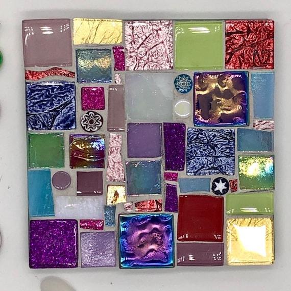 Handmade glass red blue and purple mosaic square coaster Unique gift idea Living room decor Home decor
