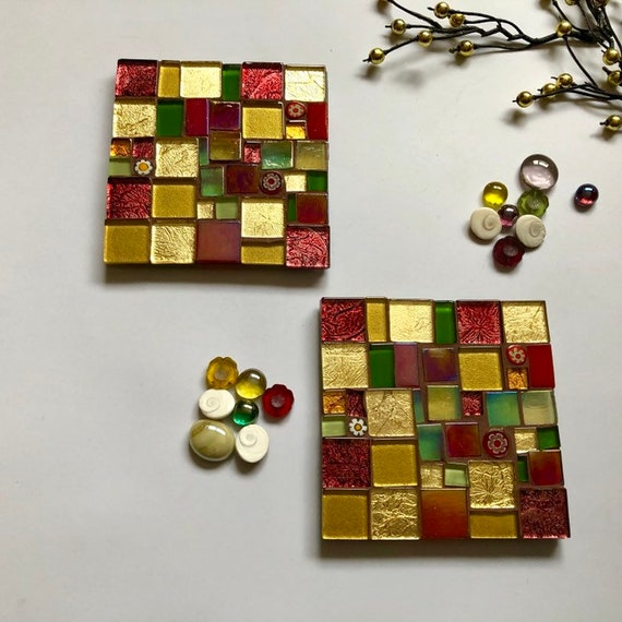 Handmade glass red gold green 'patchwork' mosaic square coaster Unique gift idea Living room decor Home Christmas gift