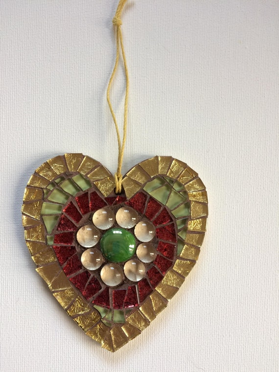 Handmade glass mosaic hanging red gold green heart ornament Unique gift idea Home decor Gift for her Heart gift Wall art Wall decor